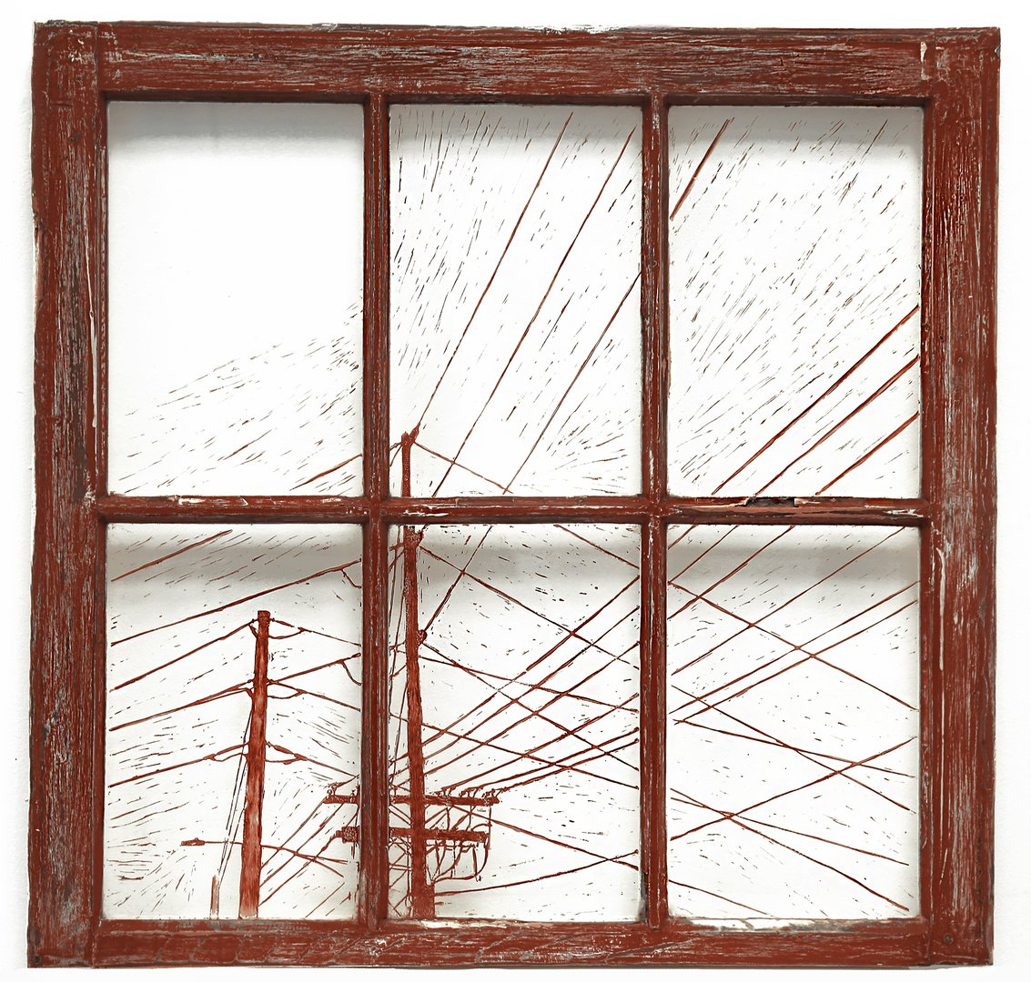 Relief prints of electricity lines on glass windows with red and white.jpg
