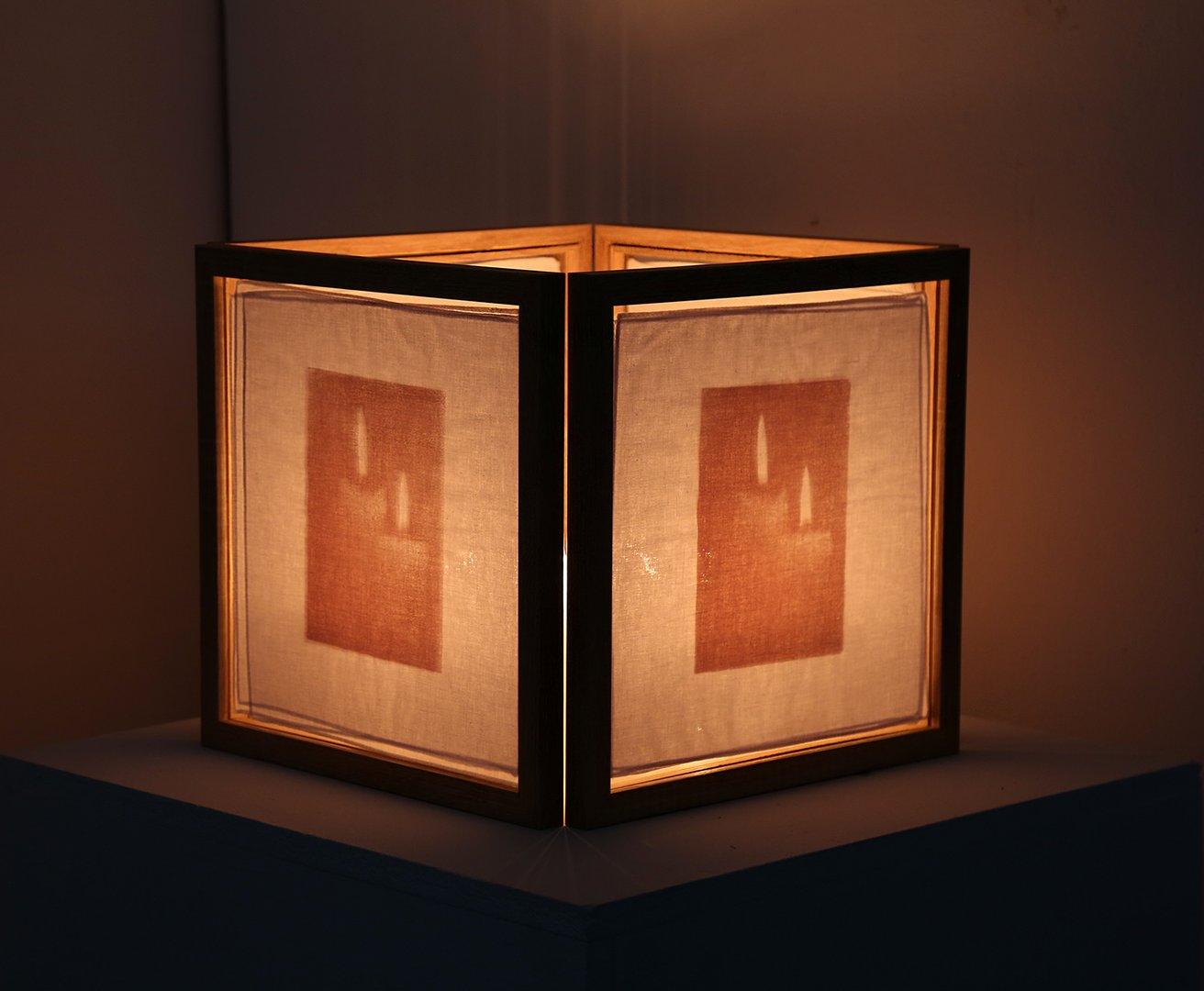Mixed media box shaped light sculpture.jpg