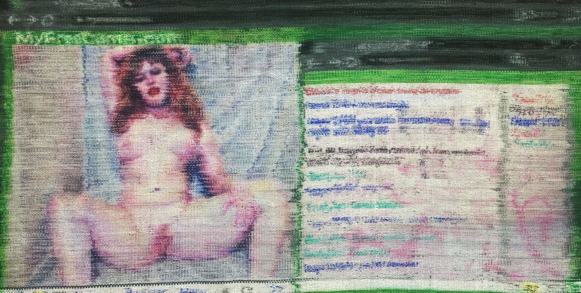 Textile artwork recreating My Cams windows on a computer screen with a frontally nude person on the left and the chat on the right.jpg