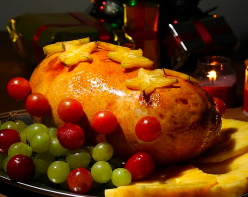 Ham with fruits