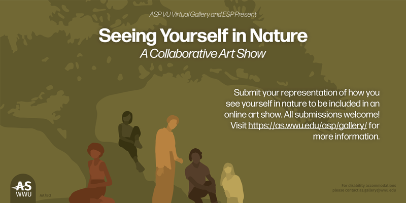 Seeing Yourself in Nature PC graphic featuring individuals gathered by a large tree in muted green and orange tones