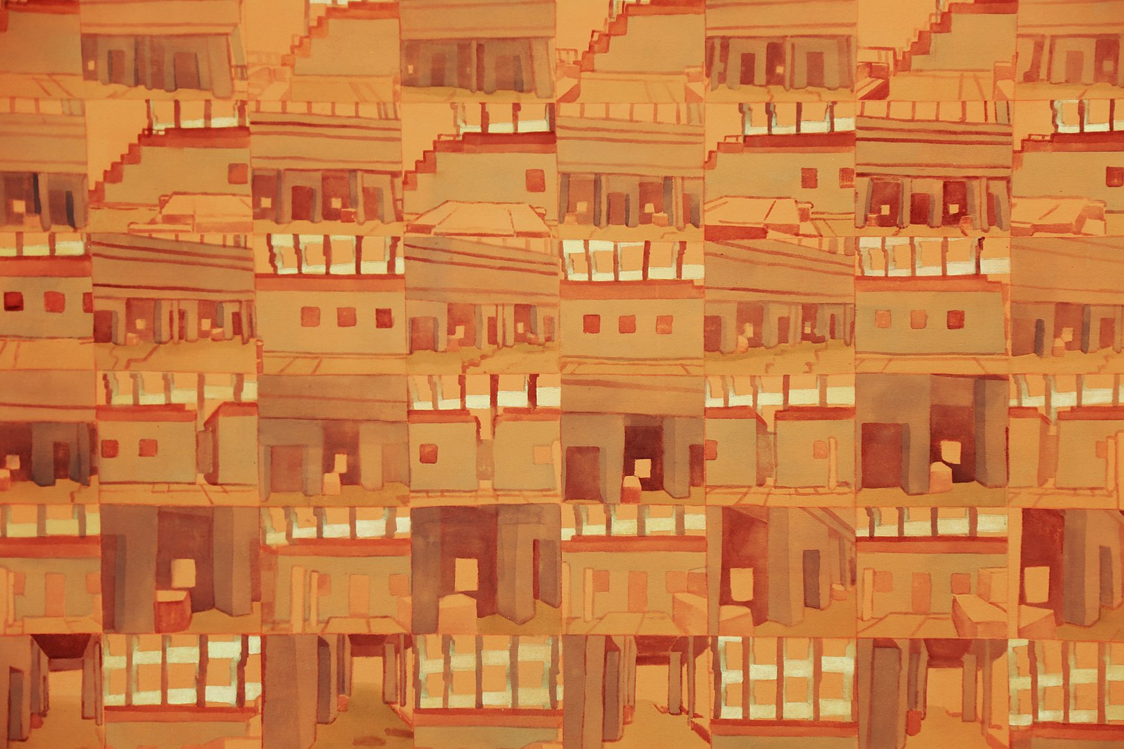 Painting of terracotta interior spaces in a grid.jpg