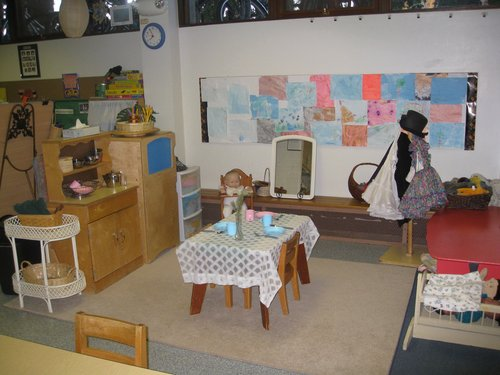 Dramatic play area in 3 1/2 to 5 year old classroom