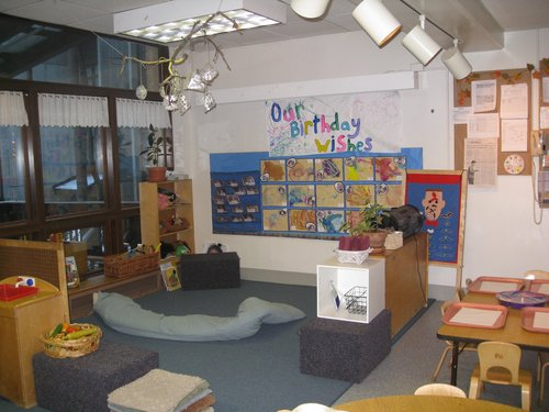 Story area in three year old classroom